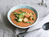 Tomato-melon gazpacho with coconut croutons