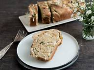 Savory babka with goat cheese and leek