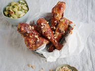 Korean fried chicken with cucumber salad