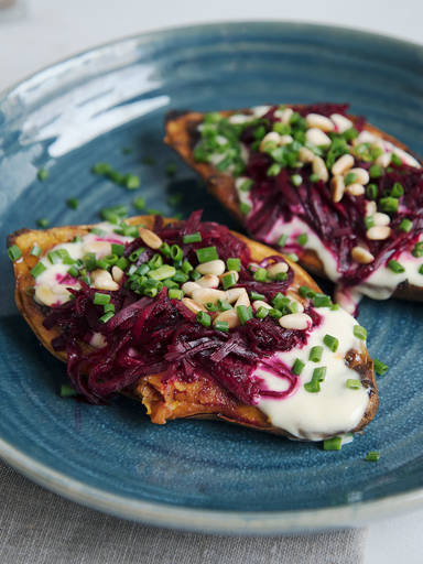 Baked sweet potatoes with truffle mayo