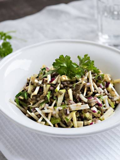 Lentil salad with apple and celery