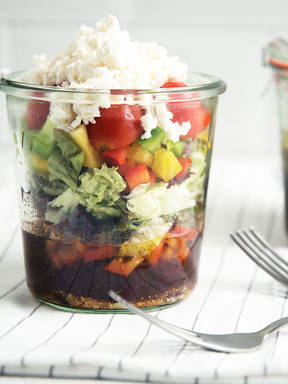 Bean and feta salad in a jar