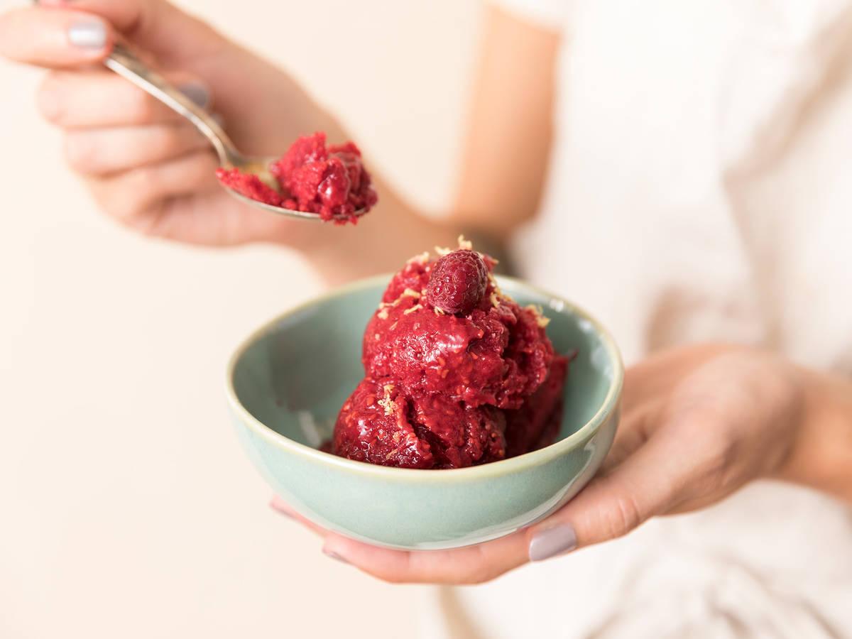 3-ingredient raspberry sorbet