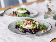 Roasted red cabbage with goat cheese and bacon