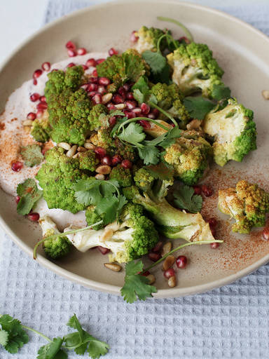 Roasted Romanesco salad with pomegranate aioli