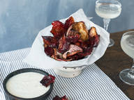 Beet chips with feta-yogurt dip
