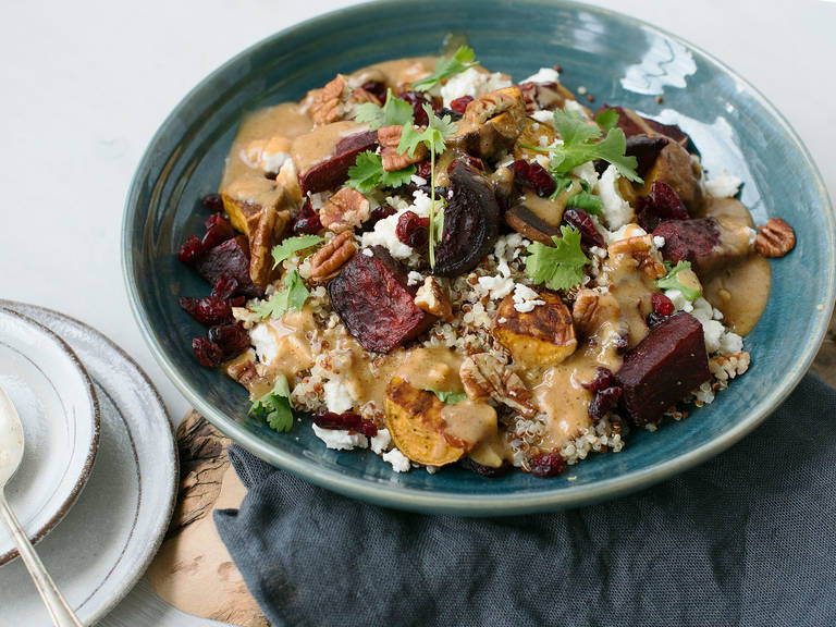 Quinoa salad with beetroot, sweet potatoes, and miso dressing