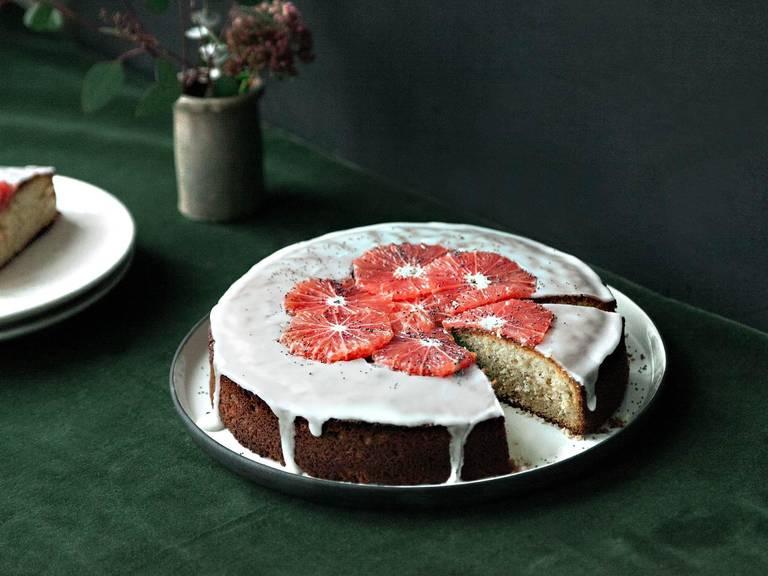 Grapefruit-Joghurt-Kuchen mit Mohn
