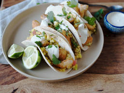 Fish tacos with grapefruit salsa