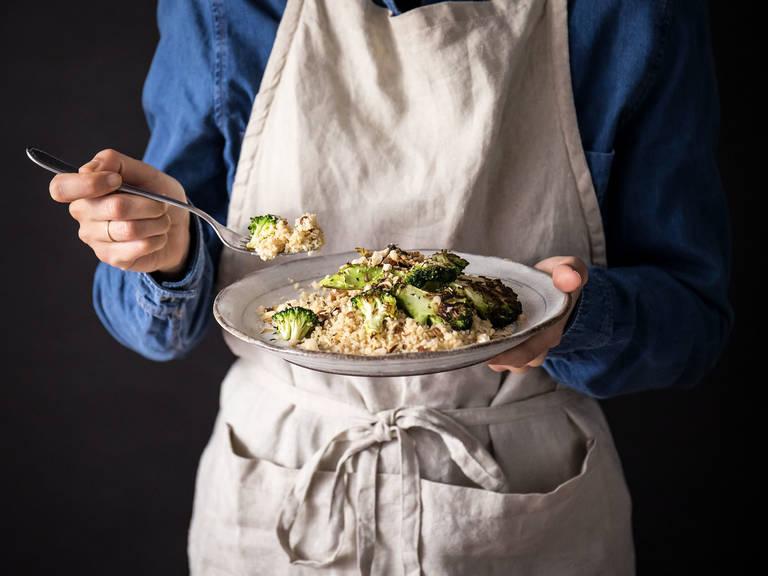 5-ingredient charred broccoli couscous with lemony yogurt