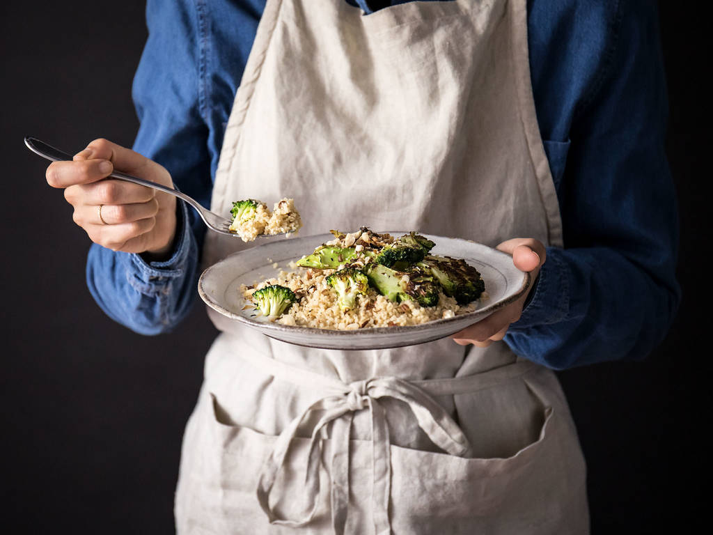 Charred broccoli couscous with lemony yogurt