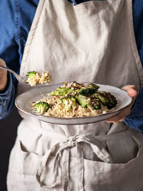 5-ingredient charred broccoli couscous with lemony yogurt