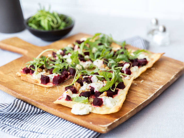 Red beet and goat cheese tarte flambée