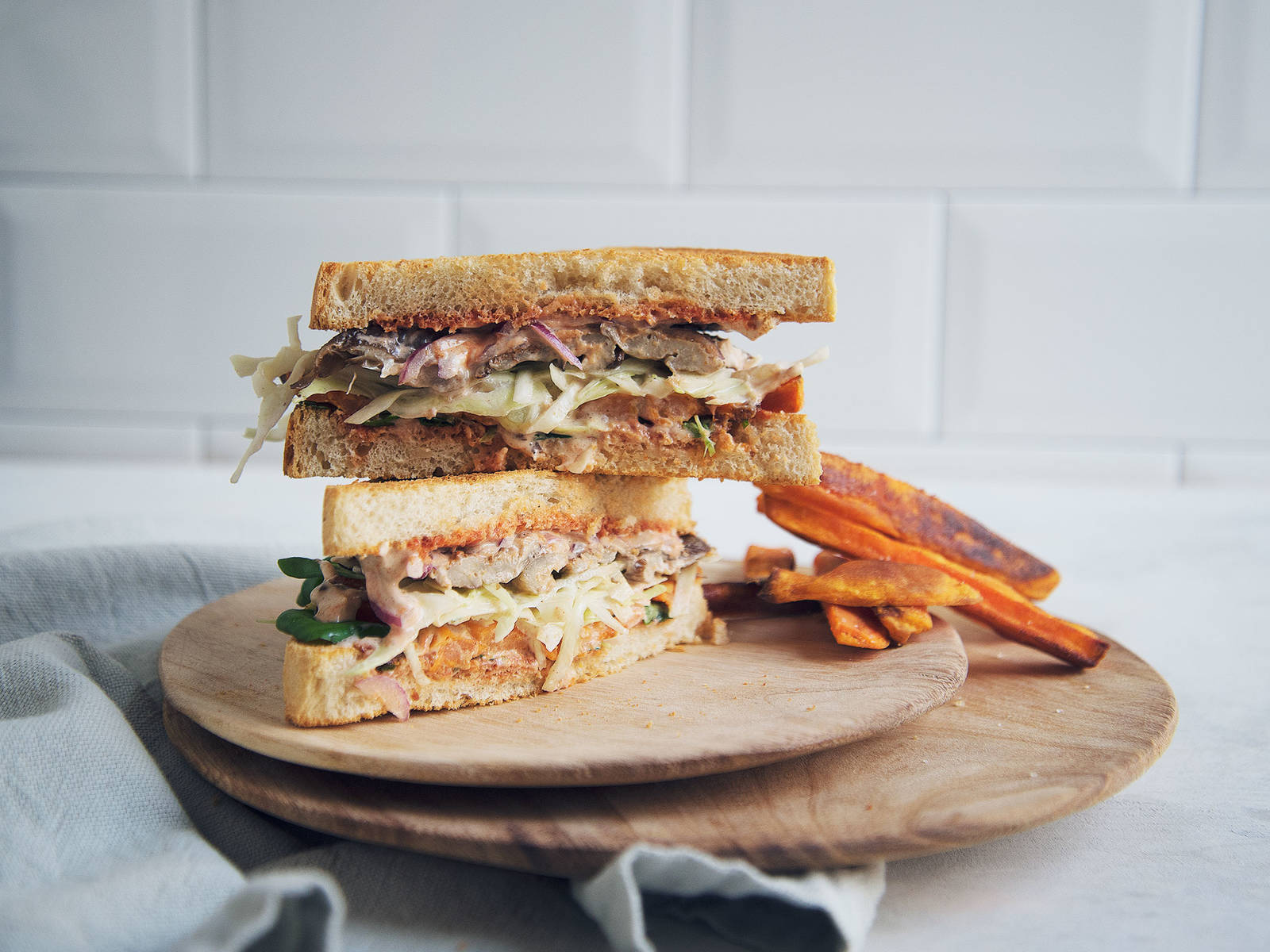 Winter sandwich with spicy cinnamon mayo