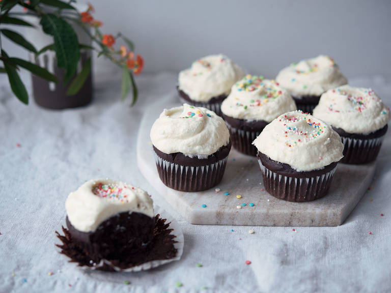 Chocolate birthday cupcakes