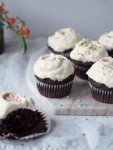 Chocolate birthday cupcakes