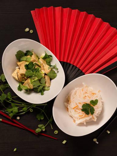 Pickled daikon and warm tofu salad
