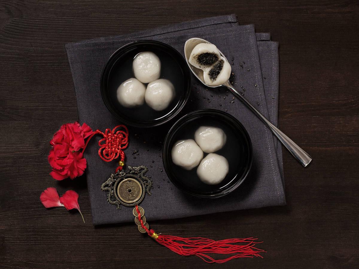 Sweet rice balls with black sesame