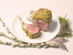 Pistachio crusted rack of lamb with rosemary polenta