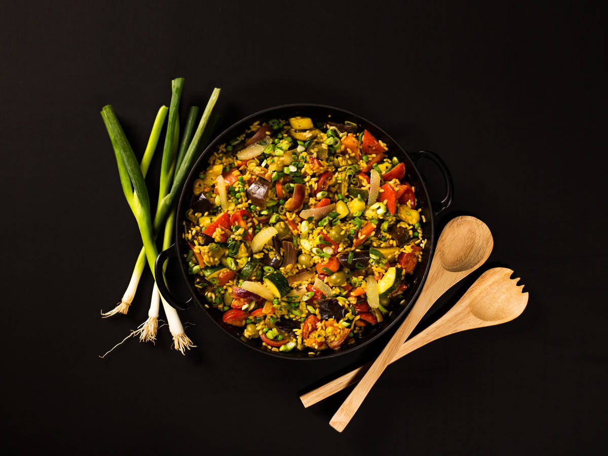 Veggie paella with zucchini and eggplant