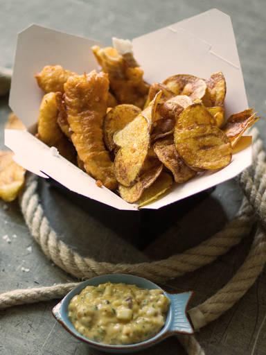 炸鱼配薯片