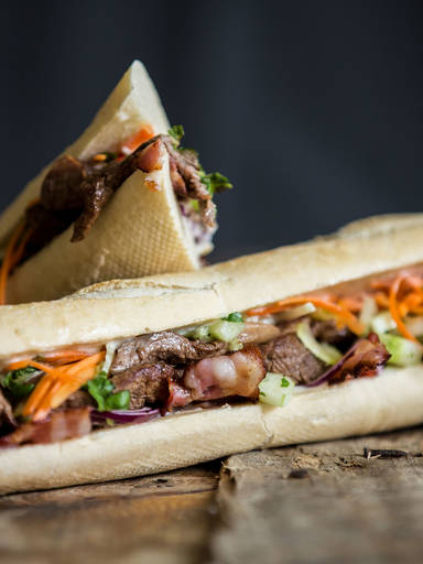 Beef banh mi with fresh cilantro