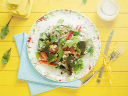 Summer salad with blue cheese dressing