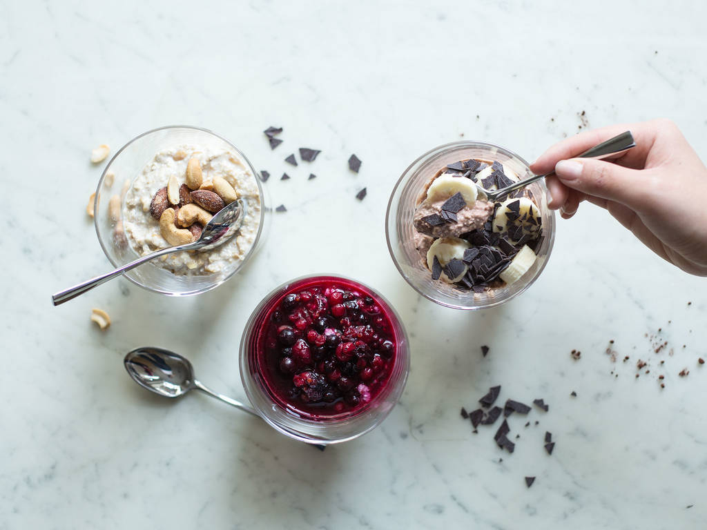 Overnight oats with three toppings