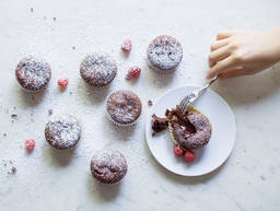 Raspberry molten chocolate cupcakes