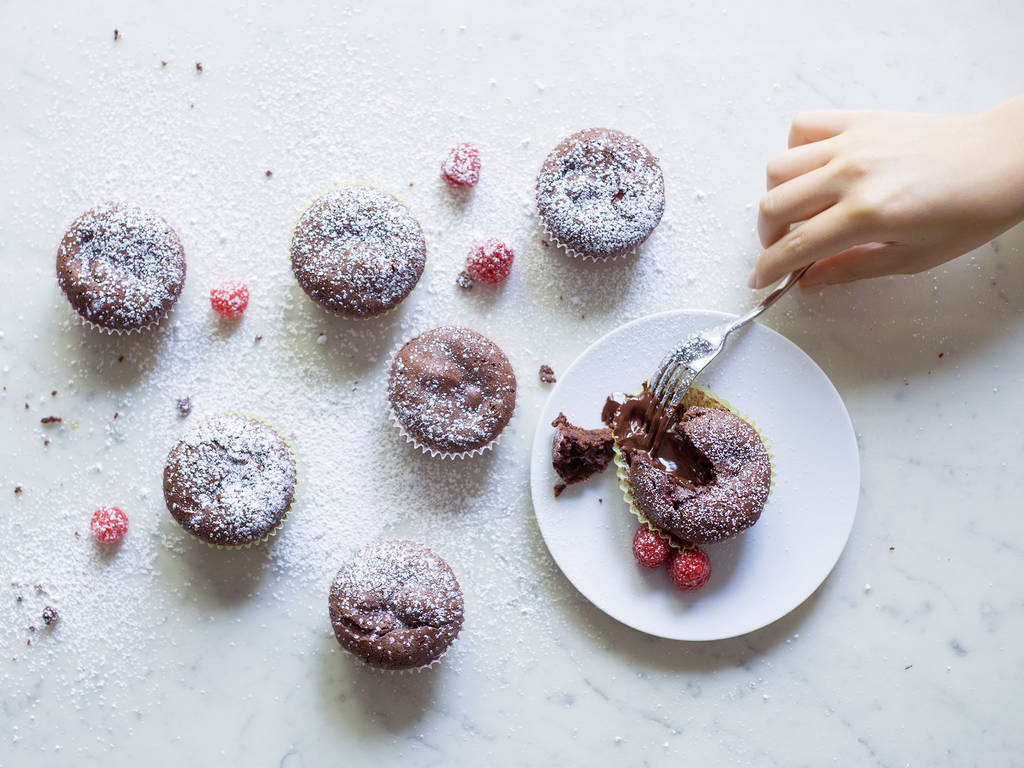 Raspberry molten chocolate cupcakes