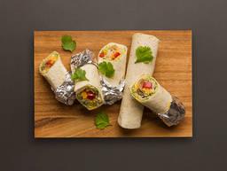 Mini mushroom and avocado burritos