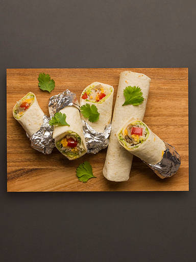 Mini mushroom and avocado burritos
