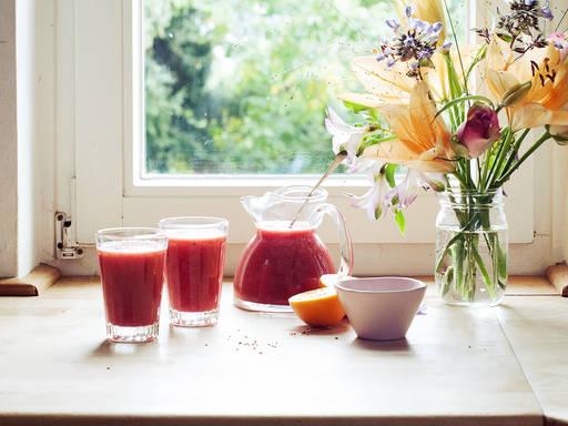 Fresh pomegranate-orange juice