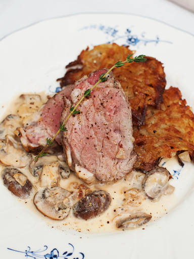Veal tenderloin with mushroom sauce