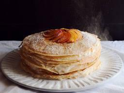 Nectarine-ginger mille crêpe cake