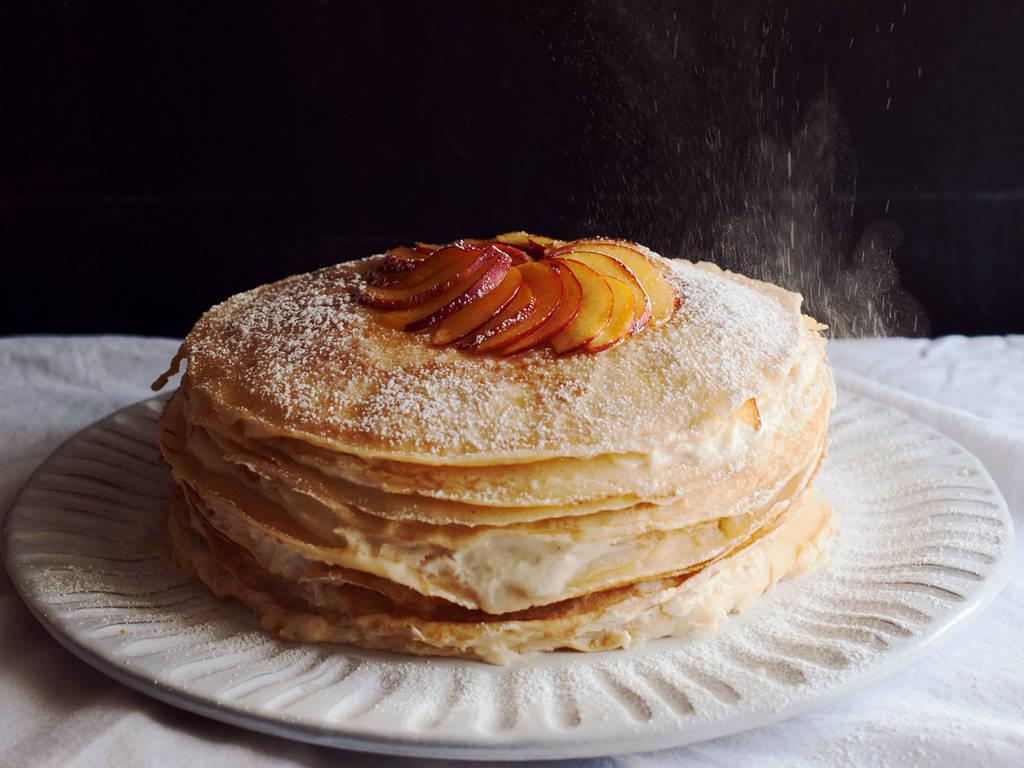 姜味油桃千层蛋糕
