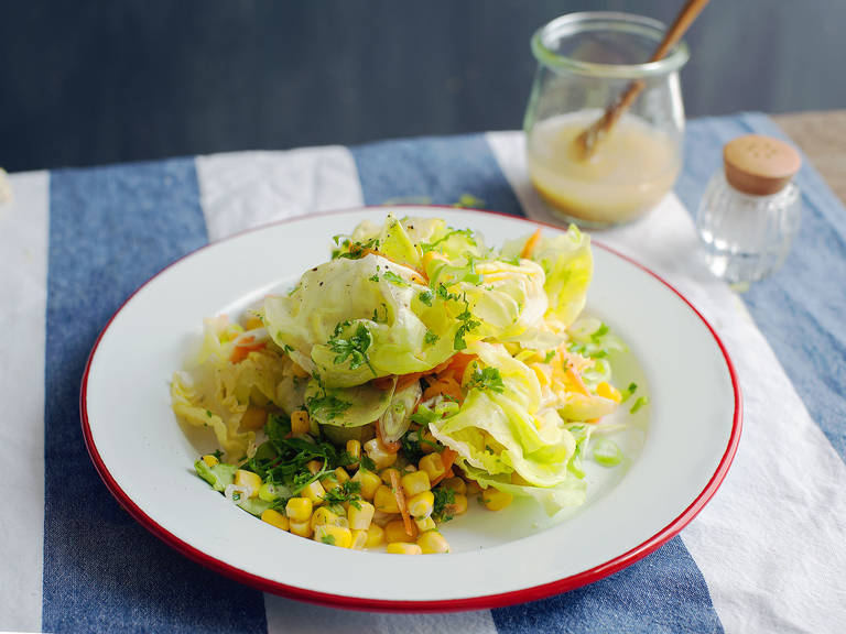 Mixed salad with white balsamic honey mustard dressing