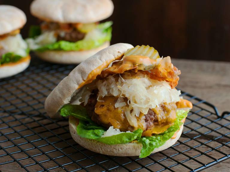 Bacon and sauerkraut cheeseburger