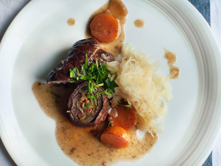 Beef rouladen with sauerkraut