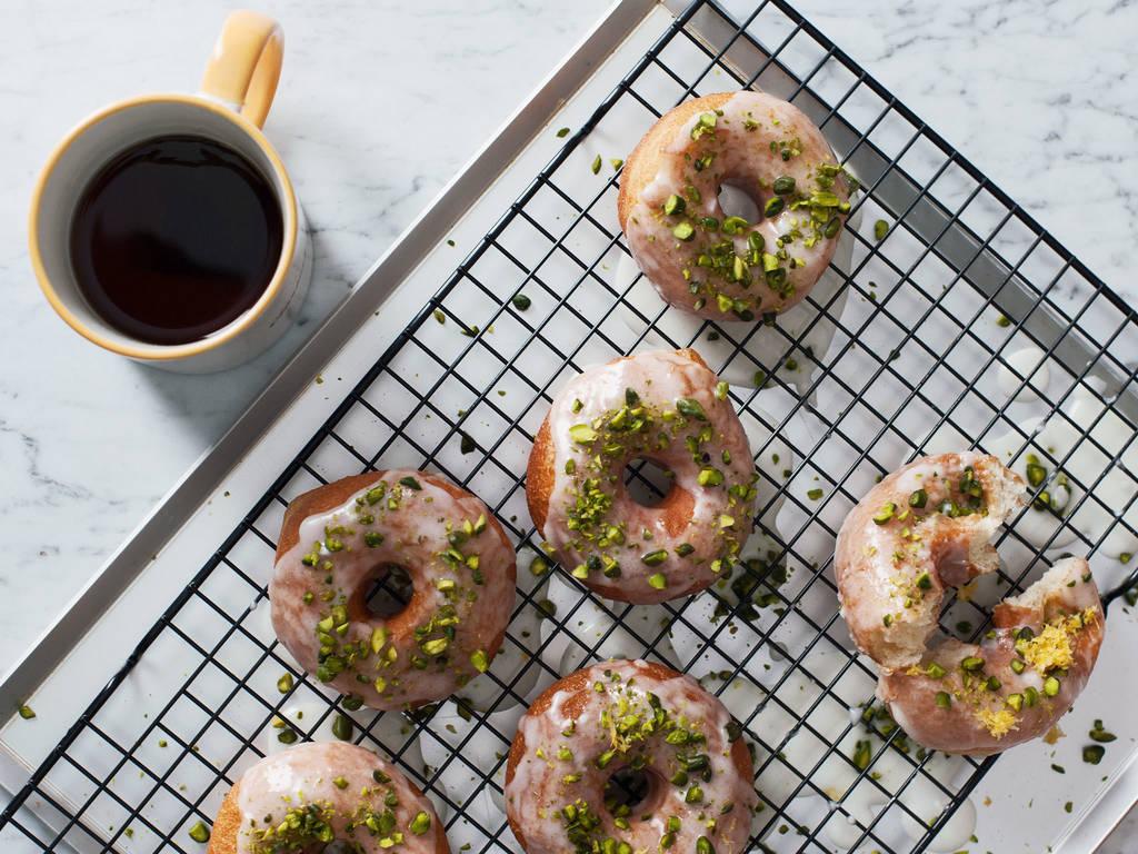 Pistachio-glazed doughnuts