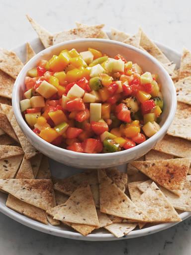 Fruit salsa with cinnamon nachos