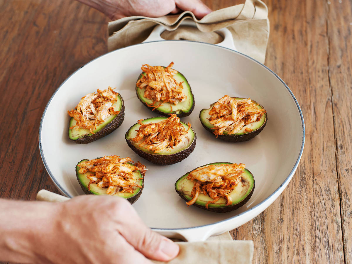 Pulled chicken stuffed avocado