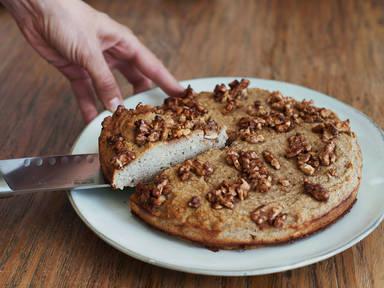 Paleo banana cake with walnuts