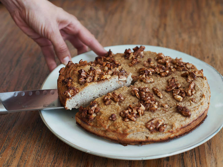 Paleo banana cake with walnuts