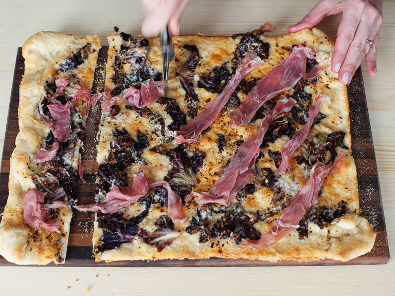 Prosciutto and radicchio flatbread