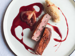 Duck with cassis-figs and parsnip purée