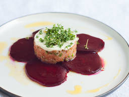 Beetroot carpaccio with salmon tartare and wasabi cream