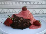 Bean brownie with strawberry nice cream