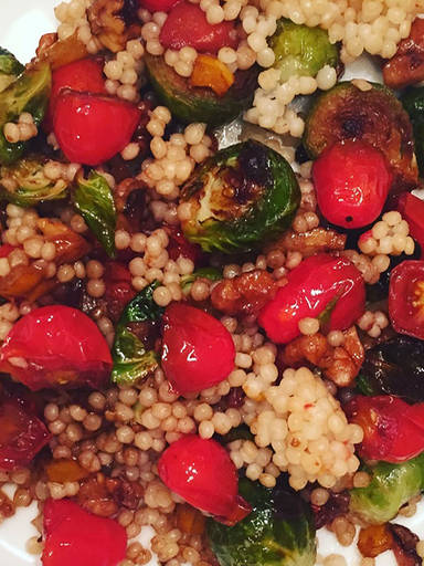 Brussels sprouts over couscous