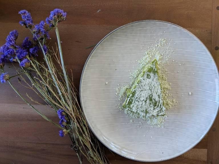 Pistachio and green tea cheesecake